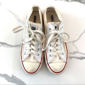 White Perforated Classic Converse